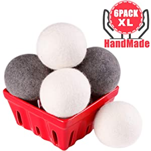 Wool Dryer Balls Laundry XL 6-Pack - 100% Organic New Zealand Wool - Eco Dryer Balls Reusable Natural Fabric Softener for Reducing Wrinkles & Static Cling, Hypoallergenic, Chemical Free (3white+3gray)