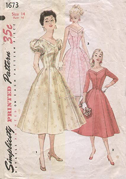 6c1224d8341 Image Unavailable. Image not available for. Color  Simplicity 1673 Vintage  1950s V Neck Fit and Flare Rockabilly Cocktail Dress Sewing Pattern B34