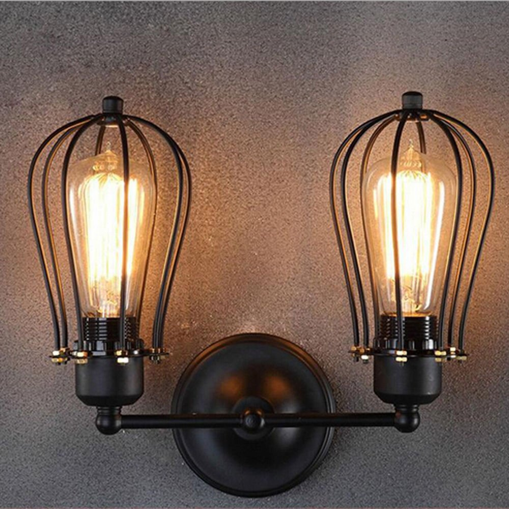 WINSOON MODERN VINTAGE INDUSTRIAL LOFT METAL DOUBLE RUSTIC SCONCE WALL LIGHT WALL LAMP
