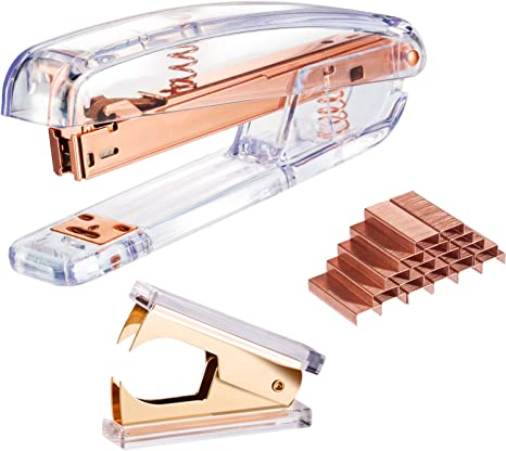 Luxury Acrylic Rose Gold Desk Accessories /& Decorations Rose Gold Office Supplies with 1000 Staples and 12 Binder Clips Rose Gold Stapler and Staple Remover Set