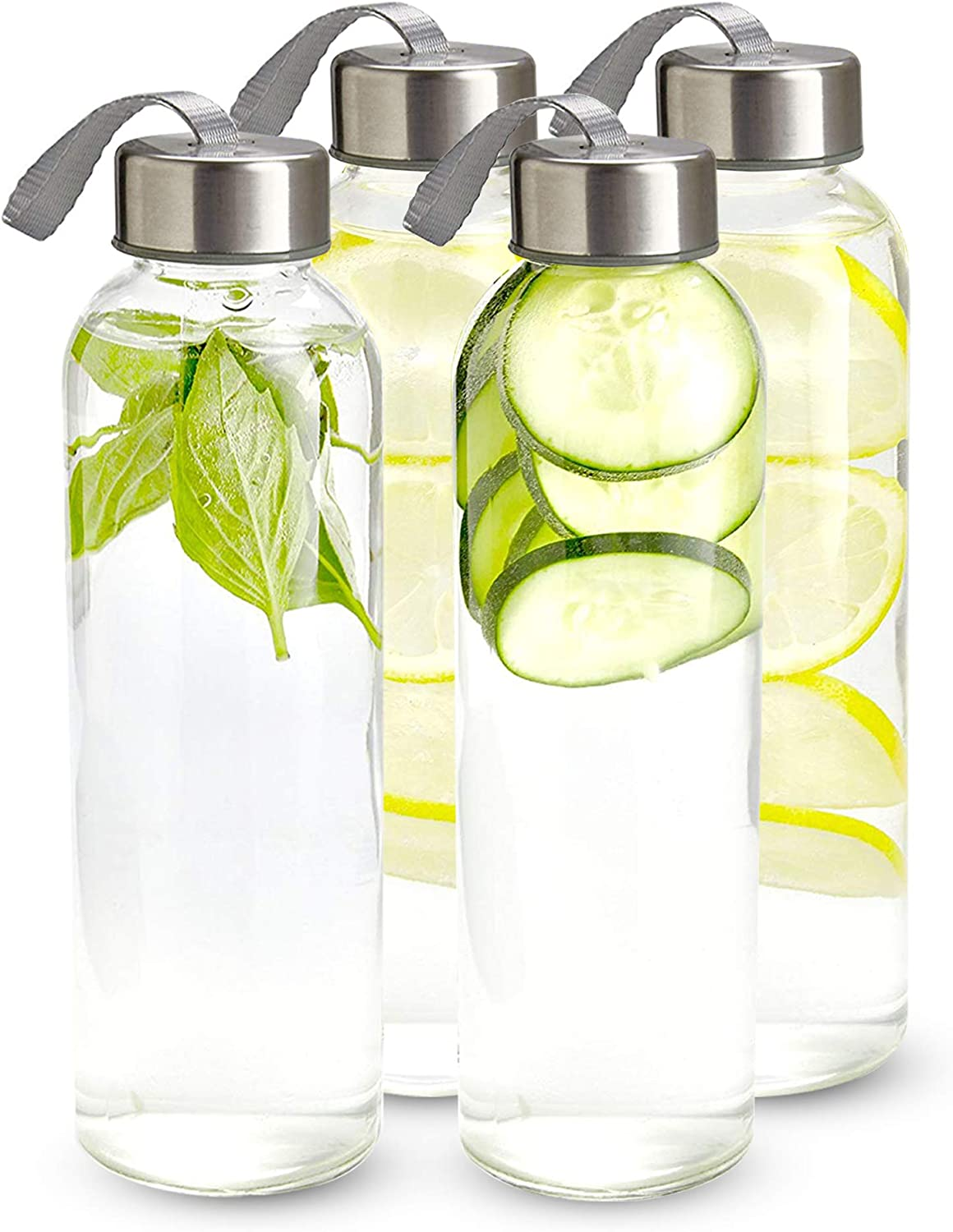 Individual Protection Sleeve Included 6 pack Stainless Steel Leak proof Caps with Carrying Loop Chefs Star Clear Glass Water Bottle 18 oz Bottles For Fresh Juice /& Beverages Storage
