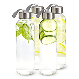 Kitchen Lux 16 oz. Glass Water Bottles, Reusable Water Bottles with Airtight, Stainless Steel Lids + Bonus Carrying Strap & Nylon Water Bottle Protective Sleeves for Hot & Cold Drinks