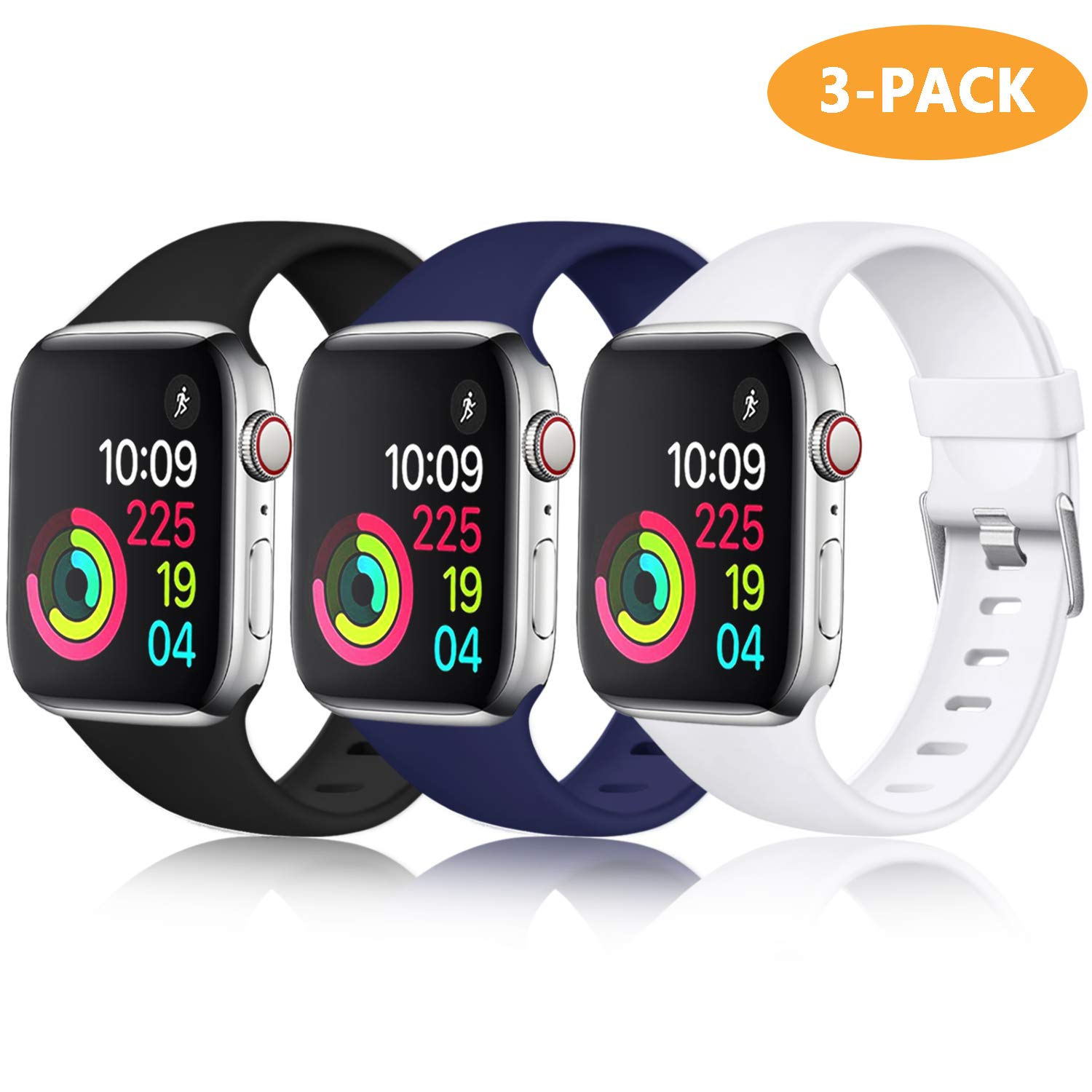 Laffav Band Compatible with Apple Watch 40mm 38mm iWatch Series 4 3 2 1 for Women Men, Black, Midnight Blue, White, 3 Pack, S/M