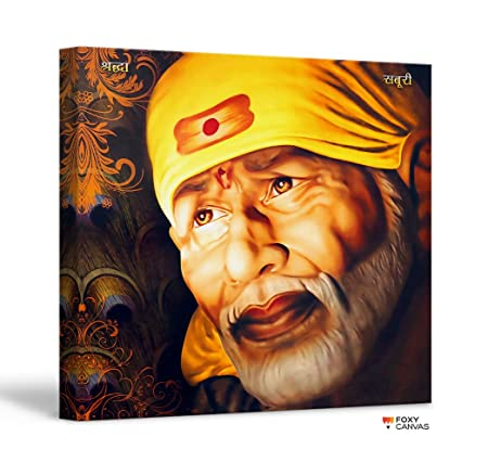 FoxyCanvas Shri Sai Baba/Shree Sai Baba/Shirdi Saibaba Giclee Canvas Print  Stretched and Framed Wall Art for Home and Office Decorations 16x16 inch