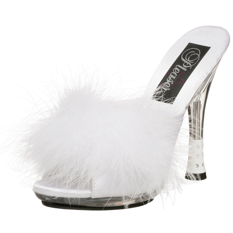 Pleaser Women's Glitzy-501-8 Sandal B00HV9VMVO 10 B(M) US|White Marabou Fur/Clear