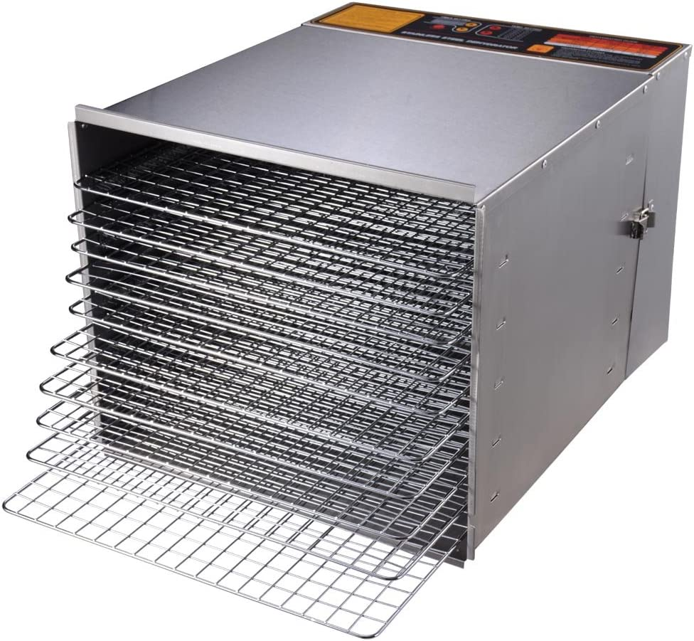 Yescom 1200W 10 Tray Stainless Steel Digital Food Jerky Fruit Dehydrator with 10 Stainless Steel Shelves Digital Timer