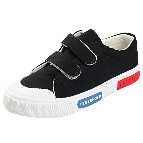 9e12fa256be Alexis Leroy Kid s Round Toe Double Hook Loop Casual Sneakers Black 31 M EU    13-