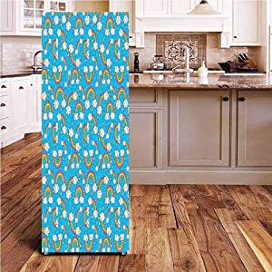 Angel-LJH Rainbow 3D Door Fridge DIY Stickers,Sky with Star Burst Magical Rainbows and Puffy Clouds Groovy Doodles of Hippie Art Door Cover Refrigerator Stickers for Home Gift Souvenir,24x70