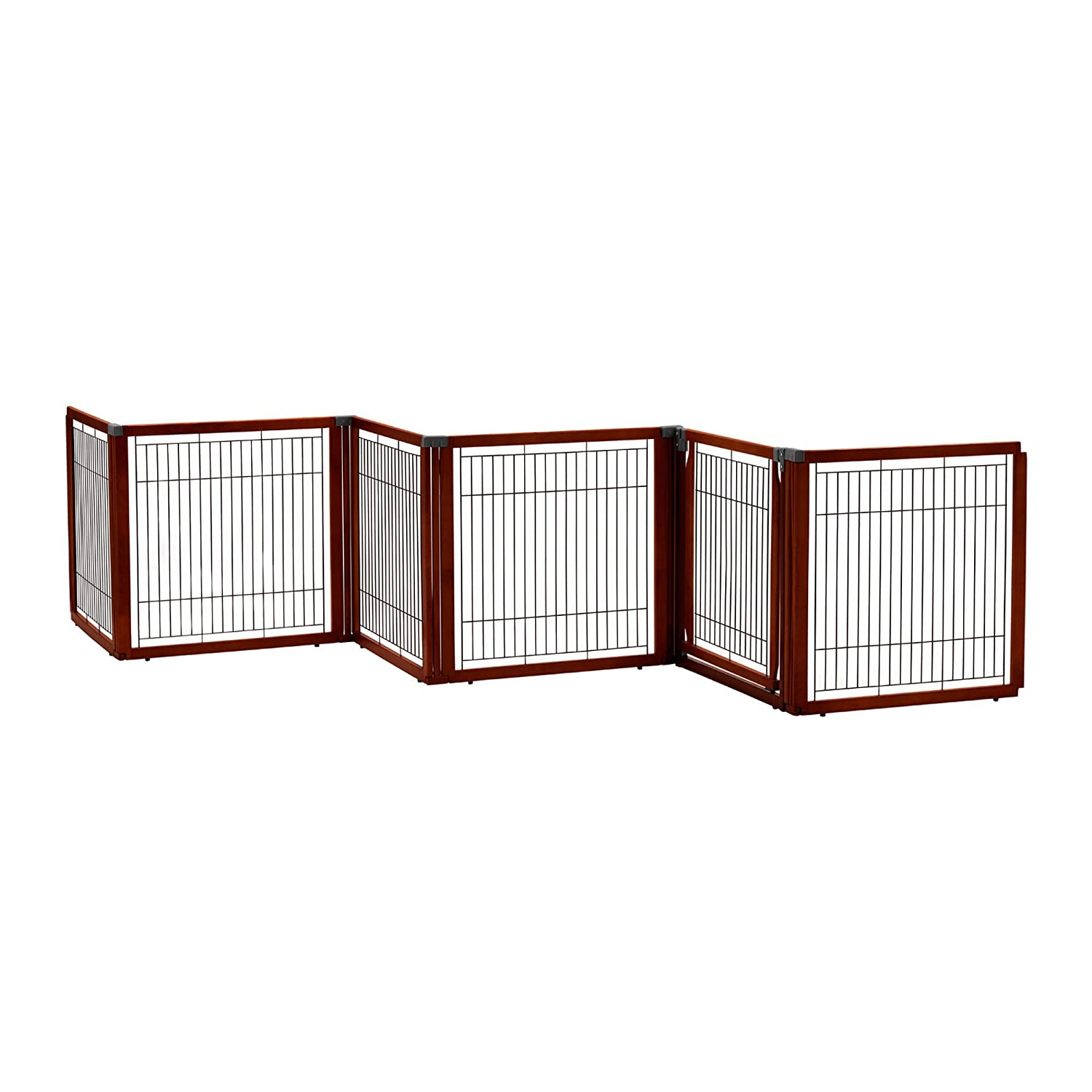 Richell Elite 6-Panel Convertible Pet Gate – Cherry Brown
