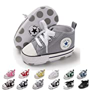 ENERCAKE Baby Boys Girls Canvas Shoes Basic Sneakers Lace Up Infant Newborn First Walker Prewalker Shoes(0-18 Months) (12-18 Months M US Toddler, A-Grey)