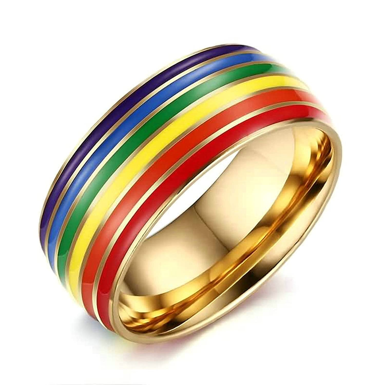 KnSam Women Wedding Bands Stainless Steel Rainbow Line Gold
