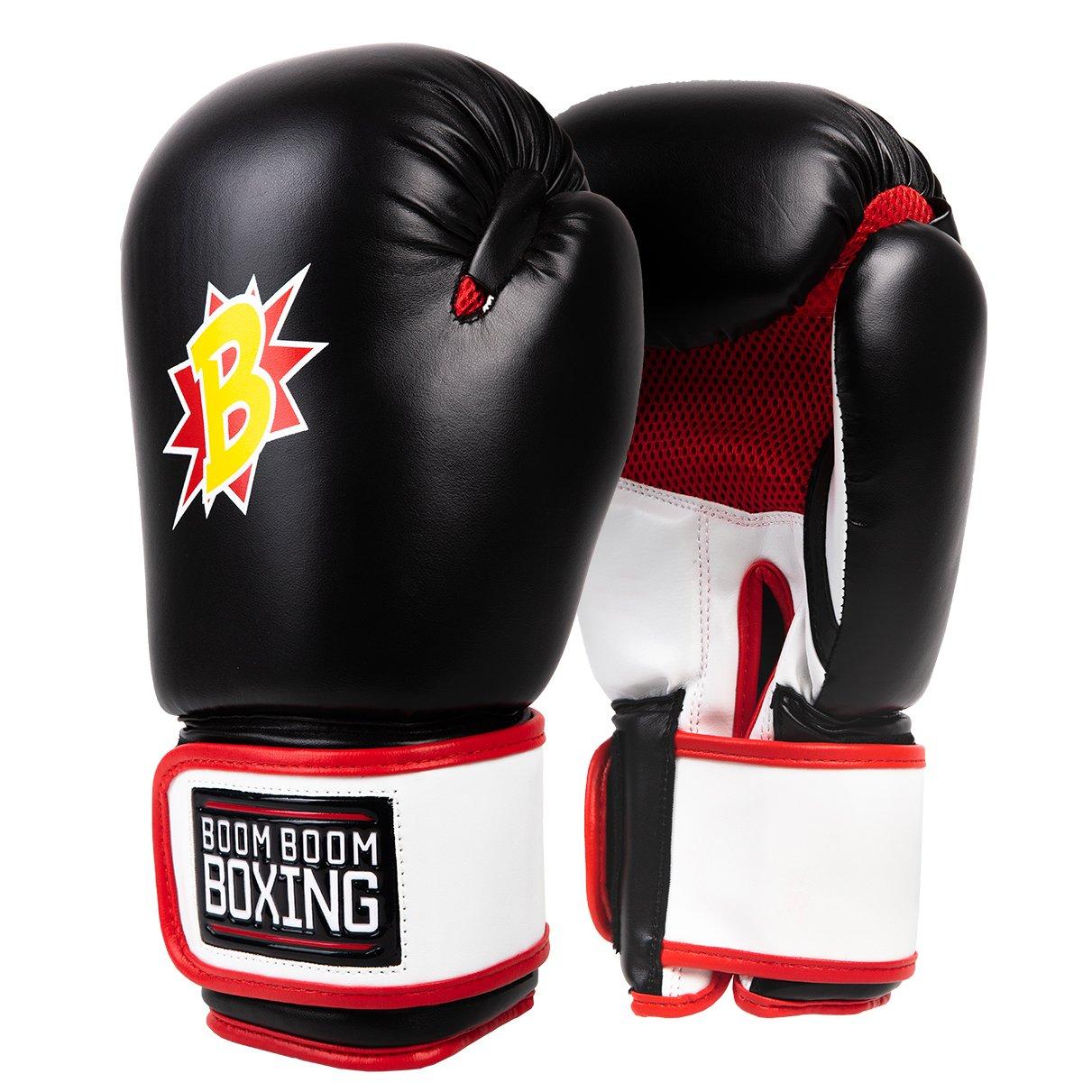 Boom Boom Boxing Bomberボクシンググローブ B07FQT3HWV 12 oz|ブラック/ホワイト/レッド ブラック/ホワイト/レッド 12 oz