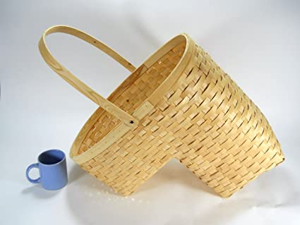 Bon Woven Wicker Stair Step Basket W/Handle Large Size
