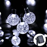 Icicle Solar String Lights, 20ft 30 LED Waterproof Outdoor Fairy Globe String Light for Indoor/Outdoor, Christmas, Home, Patio, Lawn, Garden, Wedding, Party Decorations(White)