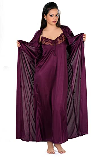 f7f8243d62 Yogalz Women Satin Peach and Dark Purple Nighty with Robe Nightwear Set  Robe Gown(Pack of 2)  Amazon.in  Clothing   Accessories