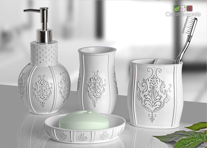 Amazon Com Vintage White Bathroom Accessories 4 Piece Bathroom Accessories Set Bathroom Set Features French Fleur De Lis Motifs Soap Dispenser
