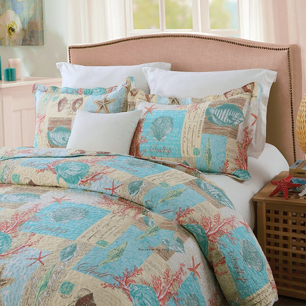 EAVD King Size Quilts and Comforters Sets (1 Quilt and 2 Pillow Sham)-Beach Theme Starfish Coral Pattern Printed Soft Cotton Bedding Set Bedspreads