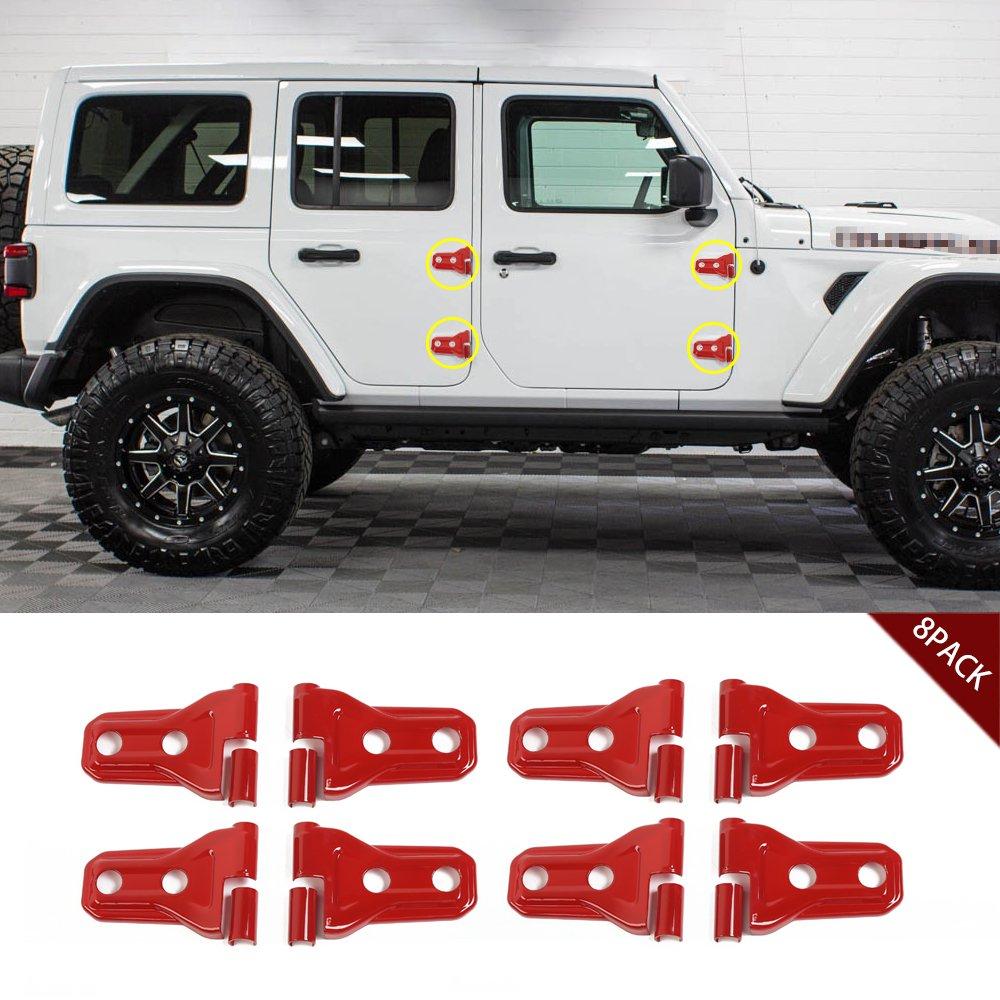 Pack of 8 JeCar Red Door Hinge Trim Cover for 2018 Jeep Wrangler JL 4-Door