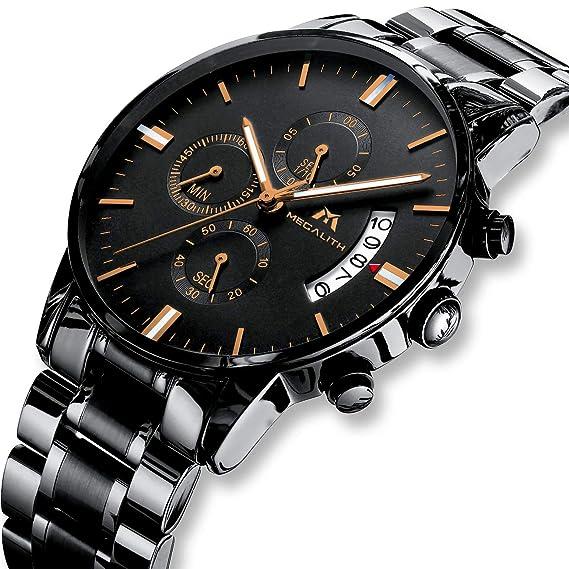 f929455442 Herren Uhren Männer Militär Wasserdicht Sport Chronograph Schwarz Edelstahl  Armbanduhr Luxus Design Business Datum Kalender Modisch