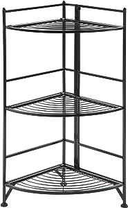 Convenience Concepts Designs2Go X-Tra Storage 3-Tier Folding Metal Corner Shelf, Black
