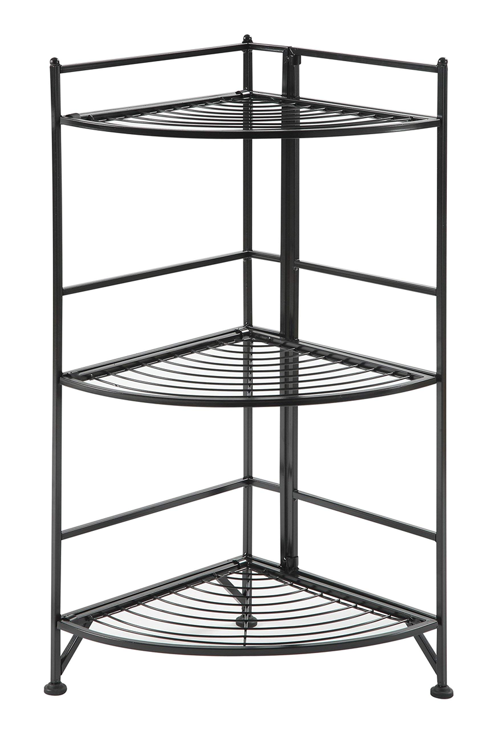 Convenience Concepts 8022B Designs2Go X-Tra Storage 3-Tier Folding Metal Corner Shelf, Black by Convenience Concepts