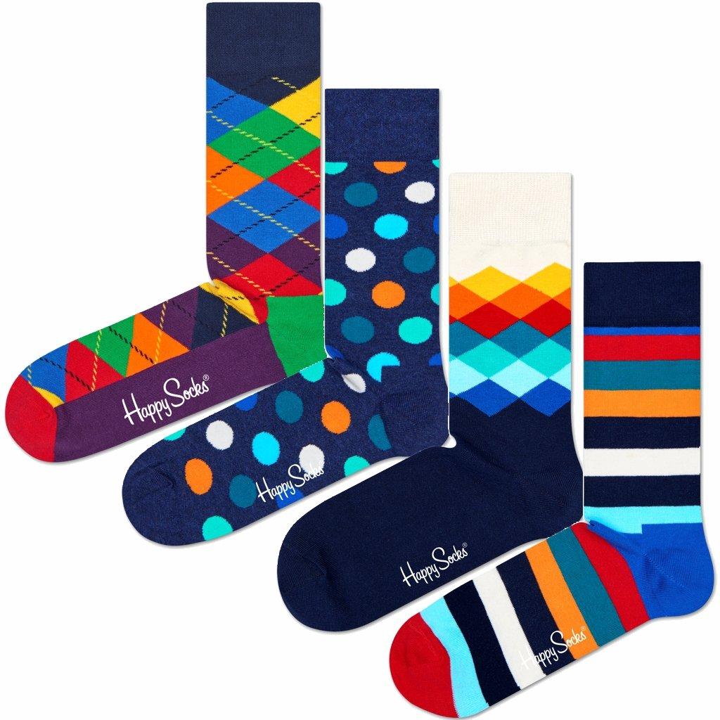 4 Paar - Happy Socks - Mix Geschenkbox - XMIX09 - Damen und Herren-Socken XPOP09