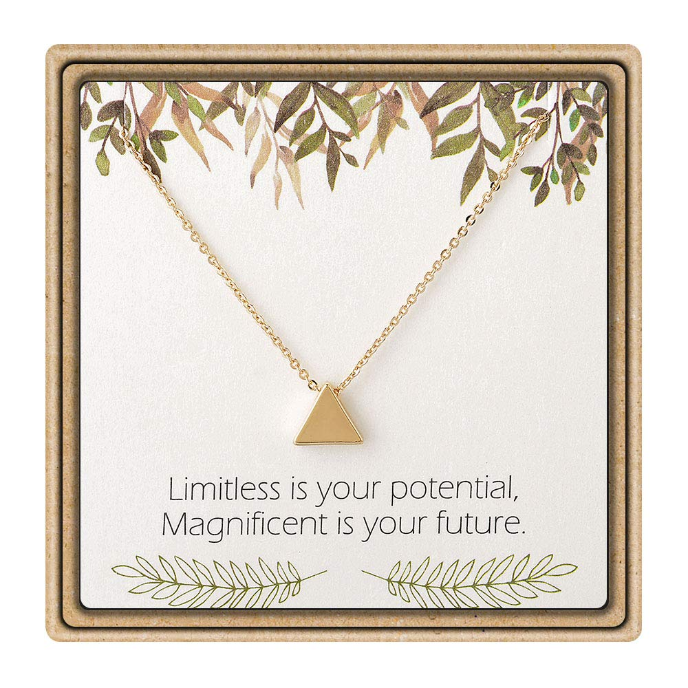IEFLIFE Graduation Gifts for Her - Tiny Triangle Charm Necklace Inspirational Necklace with Message Card Graduation Gifts