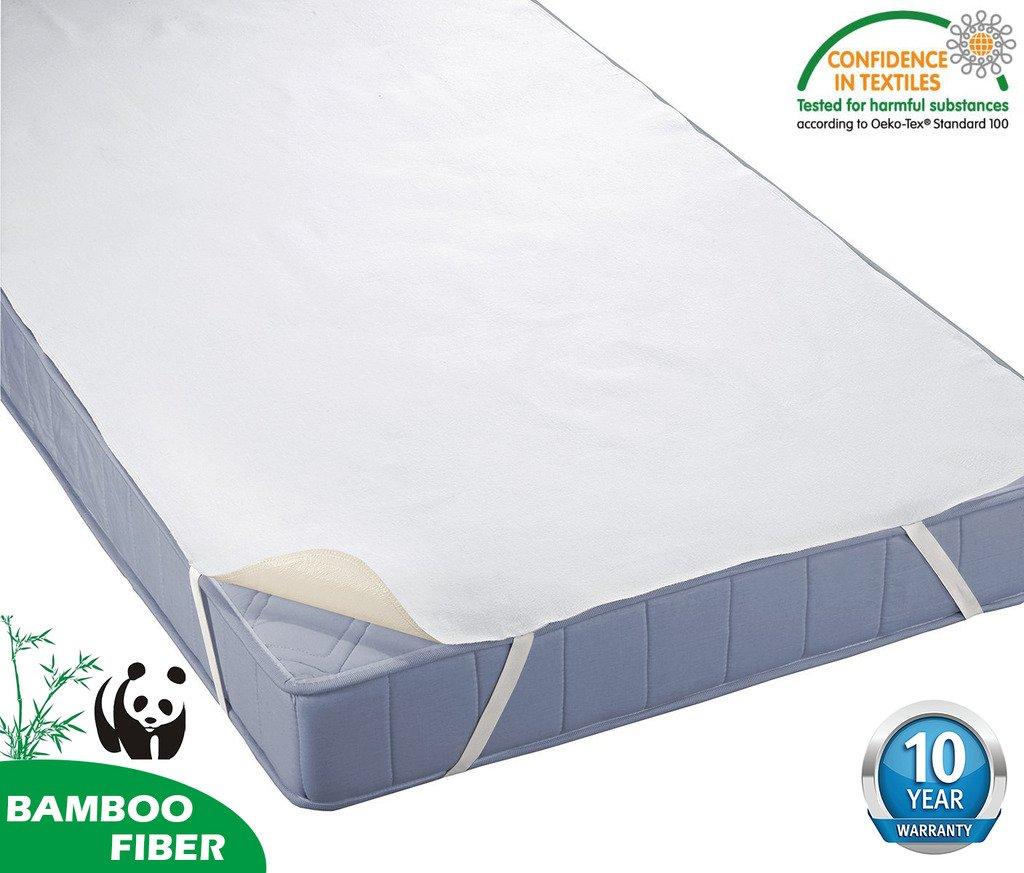 HYSENM Matratzenauflagen Bettauflage Bettlake 100% wasserdicht mit 4 Gummibänder Bambus für Allergiker knistern NICHT robust 10 Jahre Garantie, 90x190
