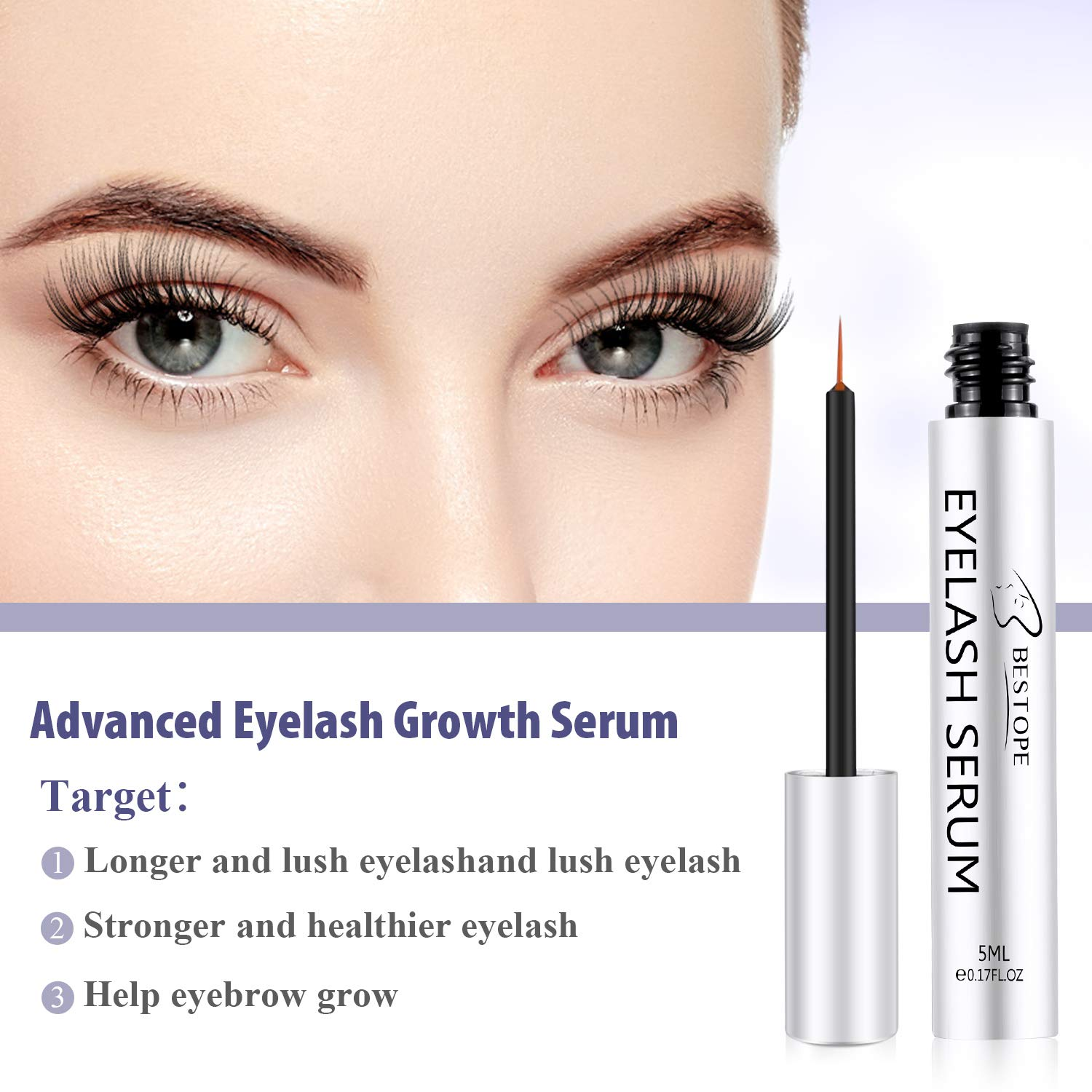 b871c81bc19 Amazon.com: BESTOPE Eyelash Growth Serum,Natural Brow Lash Enhancer(5ML), Nourish Damaged Lashes and Boost Rapid Growth for Any Kind of Lash and Brow  in 20 ...