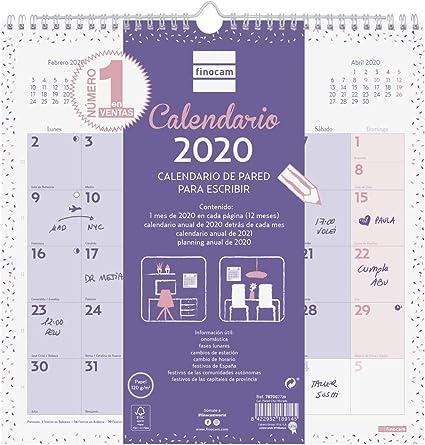 Calendario 2021 Viola Finocam   Calendario da parete 2020 Scrivere Chic Viola Spagnolo