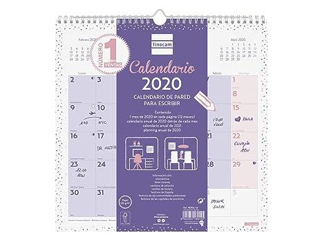 Amazon.com : Finocam - Wall Calendar 2020 Write Chic Purple ...