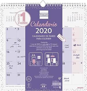 Finocam Chic Morado, Calendario de Pared 2020 Escribir Español: Amazon.es: Oficina y papelería