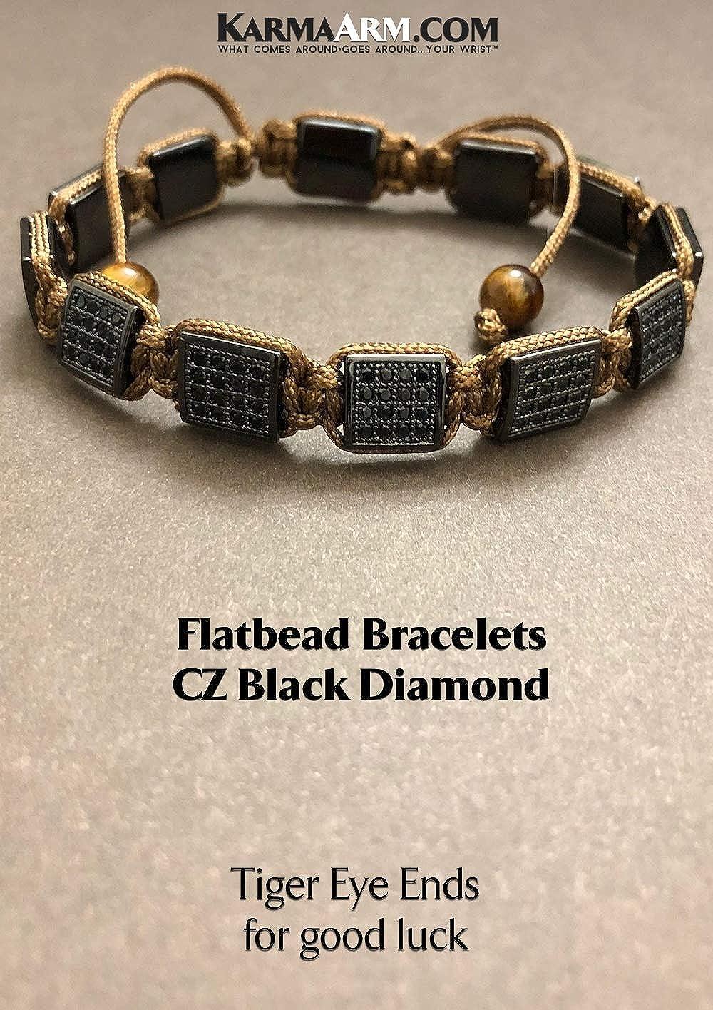 Bronze Cord KarmaArm Flat Bead Bracelets CZ Black Diamond Adjustable Yoga Reiki Chakra Boho Beaded Meditation FlatBead Mens Jewelry