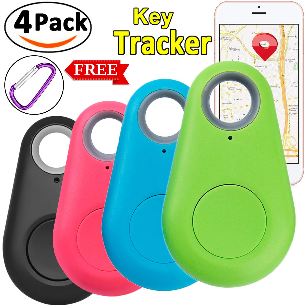 4 Pack Smart GPS Tracker Key Finder Locator Wireless Anti Lost Alarm Sensor Device for Kids Dogs Car Wallet Pets Cats Motorcycles Luggage with FREE 4 Carabiner Smart Phone Selfie Shutter iOS Android