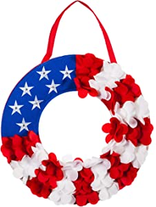 Evergreen Flag Beautiful Americana Patriotic Wreath Lit Door Décor - 18 x 18 Inches Fade and Weather Resistant Outdoor Decoration for Homes, Yards and Gardens