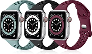 SNBLK Bands Compatible with Apple Watch Bands 38mm 40mm for Women, Breathable Slim Soft Silicone Sport Replacement Band for iWatch SE Series 6 5 4 3 2 1,Pine Green/Black/Wine Red