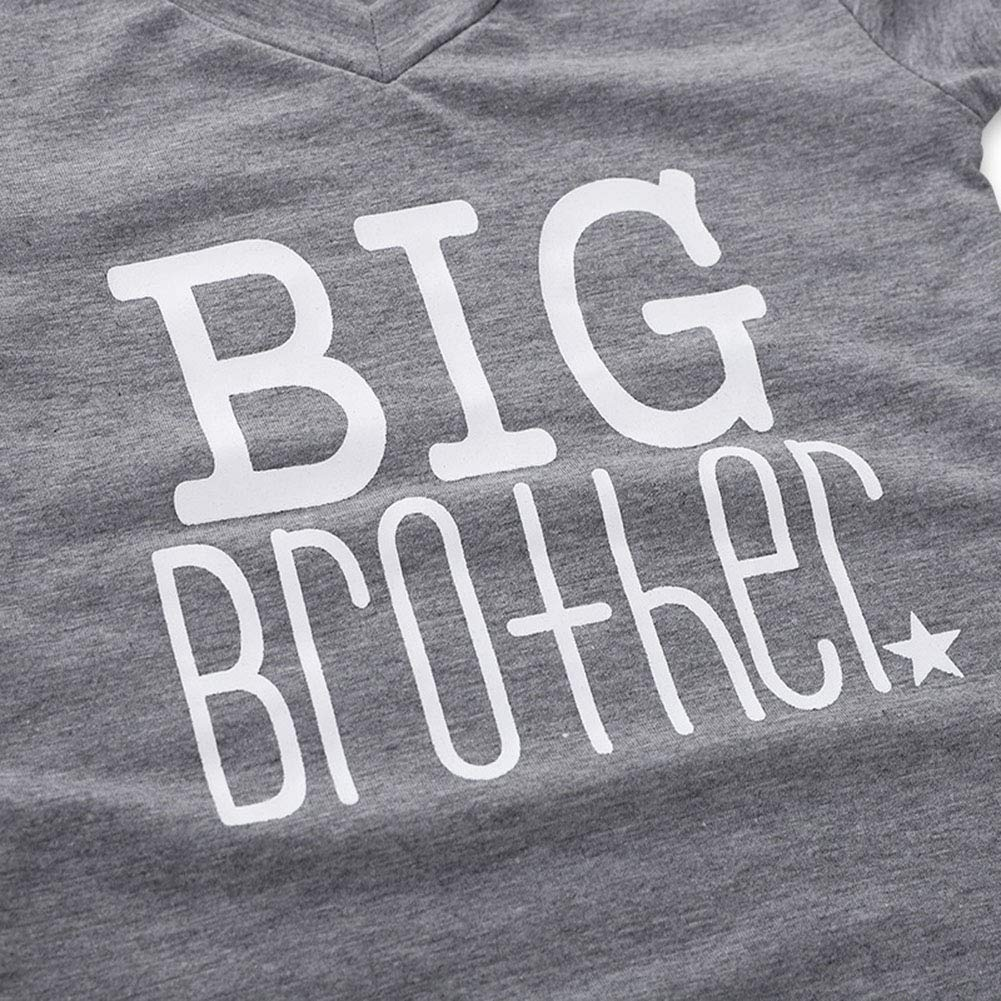 Kikibaby 1PC Children Baby Boy Gray Big Brother Letter Print Short Sleeve T-Shirt Clothes Outfit