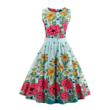 1f4f0ee7948 iShine Womens Sleeveless Boat Neck Vintage Floral Print Cocktail Party  Swing Dress with Belt