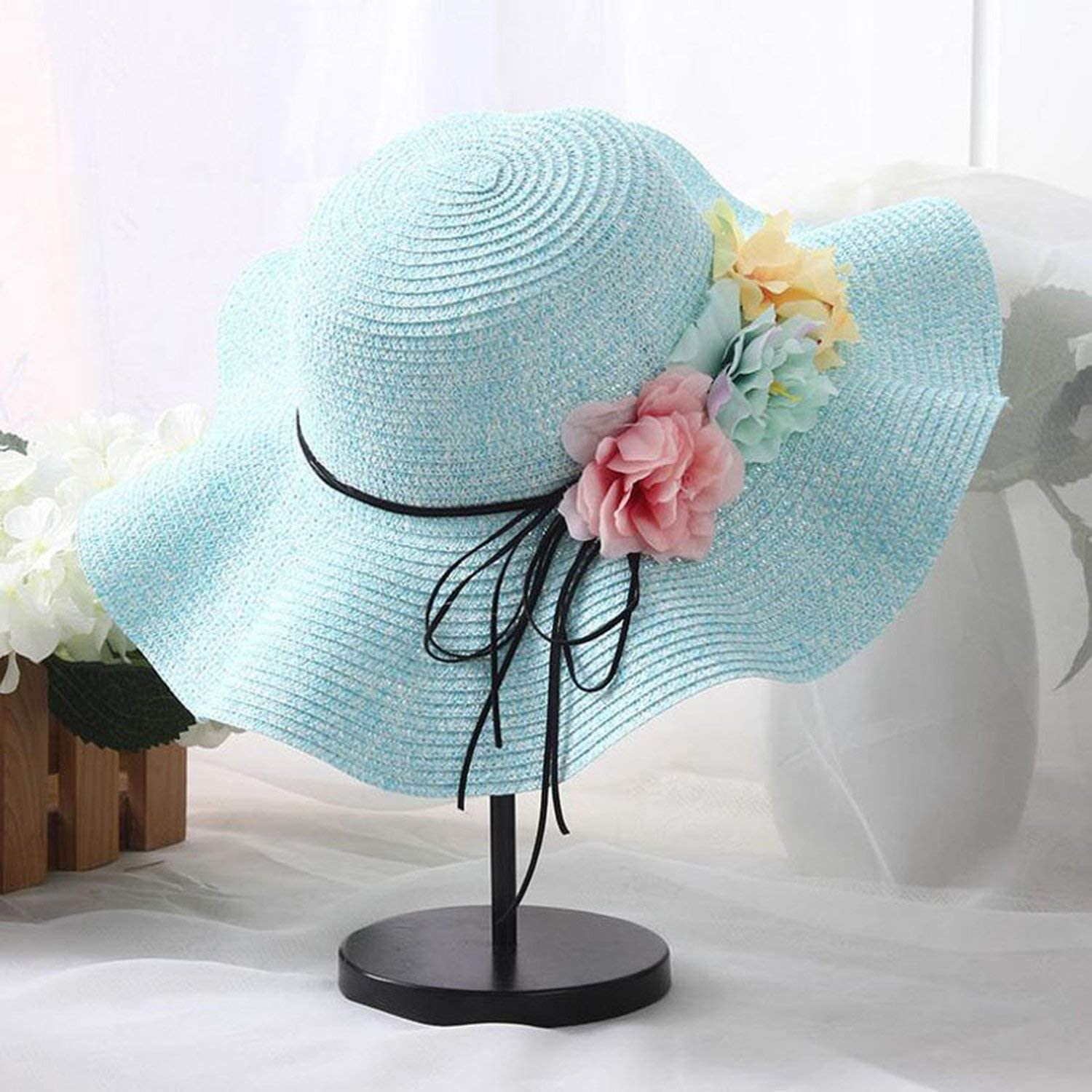 Lovely-Shop Retail 5 Colors Summer Children Flower Simple Wavy Large Brimmed Straw hat Boys Girls Beach Hats Parent-Child Sun hat,Light Pink,for Kids