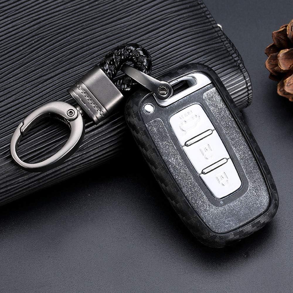 Royalfox(TM) black silicone carbon fiber style smart keyless remote Key Fob case Cover For Hyundai Elantra Equus Genesis Coupe Sonata Azera, Kia Optima Forte Sporta keychain (Hyundai smart key size b)