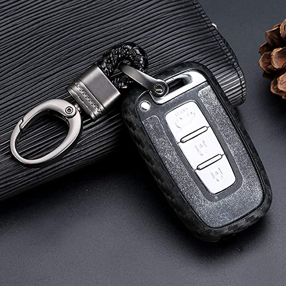 Carbon Fiber Key Case Cover Case For Hyundai New Santa Fe Grand Equus Genesis