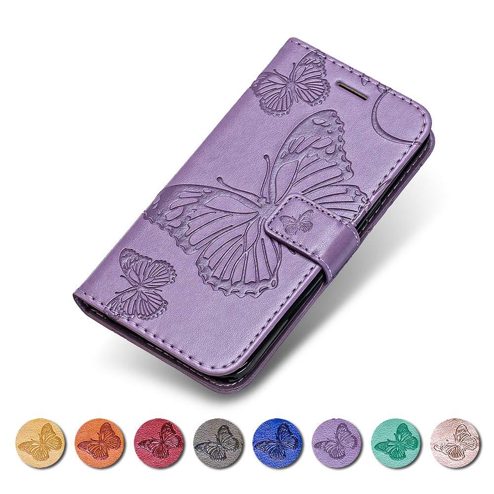 Coque Galaxy S8 Plus, KKEIKO Etui en Cuir pour Galaxy S8 Plus, Housse Portefeuille en Cuir avec Motif Papillon Flip Case pour Galaxy S8 Plus - Violet