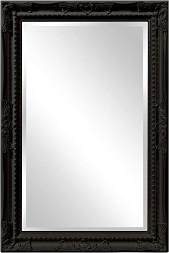 Howard Elliott Queen Ann Rectangular Hanging Wall Mirror, Beveled, Vanity, Glossy Black, 24 x 36 Inch