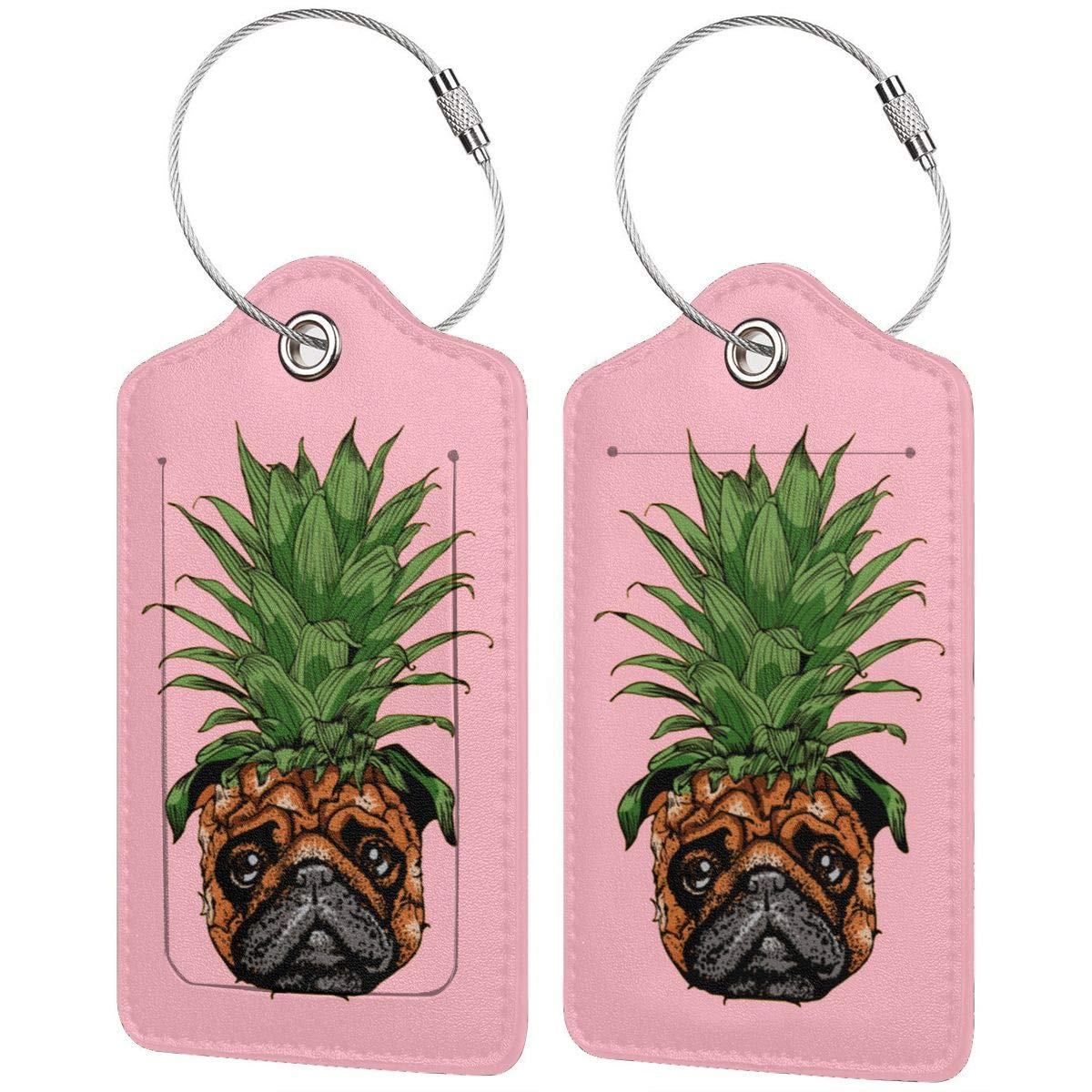 Pineapple Pug Leather Luggage Tags Suitcase Tag Travel Bag Labels With Privacy Cover For Men Women 2 Pack 4 Pack