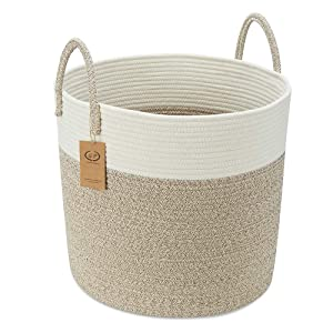 "Extra Large Cotton Rope Basket, 18"" x 16"" Blanket Storage Basket with Long Handles, Woven Baby Kids Dogs Toy Baskets, Decorative Laundry Basket in Living Laundry Room (Wide(18""×16""), Off White/Brown)"