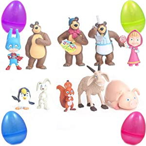 PARK AVE 10 Masha and The Bears Mini Figures with Jumbo Egg Storage, 1-3