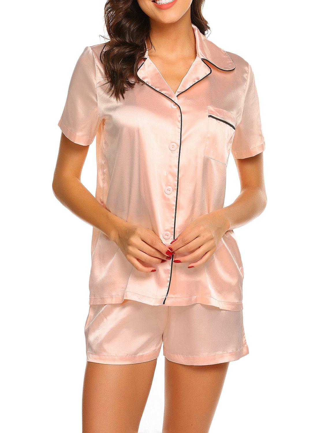 Women's Pajama Set with Shorts Pockets Satin Classic Pattern Cheap Holiday Summer