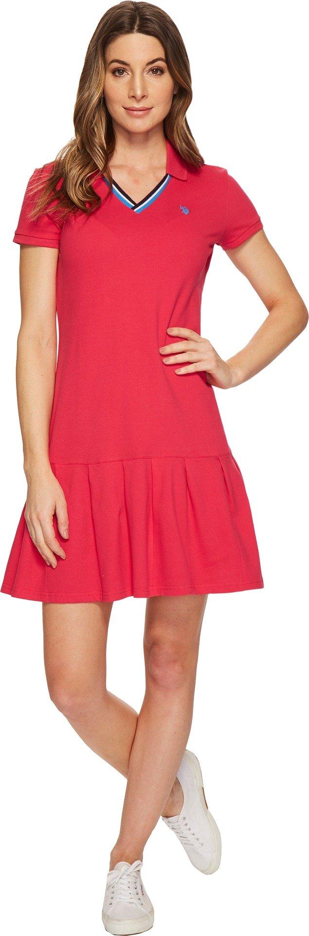 U.S. Polo Assn.. Women's Polo Dress, Bright Rose, L