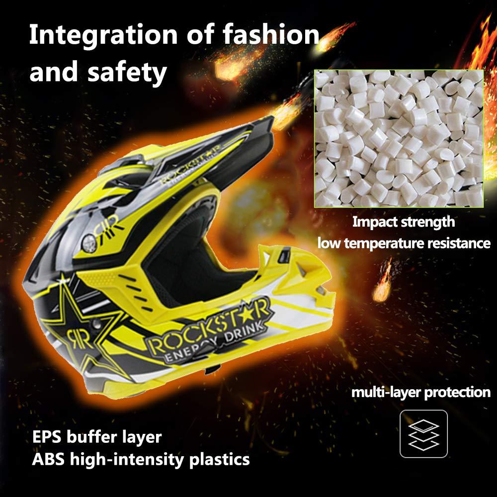 G-AVERIL Full Face Motorcycle Helmet Dirt Bike Motocross MX Off-road Micrometric Buckle ECE /& DOT Certified Yellow