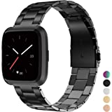 Wearlizer Stainless Steel Band Compatible Fitbit Versa Bands Women Men,Ultra-Thin Lightweight Replacement Band Strap Bracelet Compatible Fitbit Versa Smartwatch Accessories